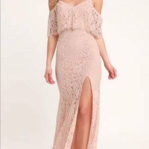 Blush Lace Off the shoulder dress